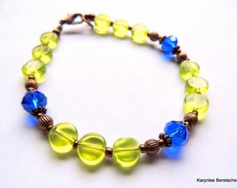 Lime Green and Copper Bracelet, Blue and Green, Handcrafted Jewelry, Copper Jewelry, Rustic Jewelry, Boho Jewelry