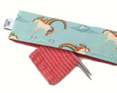 Stitch Holder Point Protector Zipper Pouch Needle Nook - DPN and Circular Project Holder - Unicorns & Rainbows