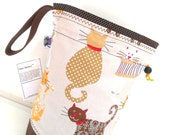 Small Knitting Project Bag Crochet Drawstring Tote WIP Bag - Calico Kitties