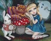 Modern Cross Stitch Kit By Simona Candini 'Alice in Wonderland' -  Counted Cross Stitch, CROSS STITCH KIT, Cheshire cat cross stitch