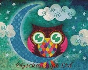 Cross stitch modern art by Sandra Vargas 'My Crescent Owl', Owl crossstitch kit,Large Cross Stitch, Advanced Counted Cross Stitch