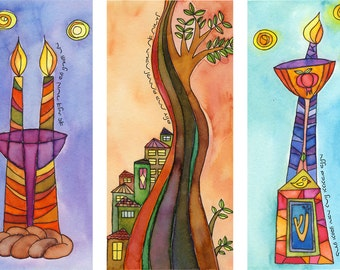 Sabbath Triptych - spiritual watercolor print and verse for weddings, housewarmings and holidays