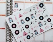 50's Theme Stickers, Perfect For The Erin Condren Life Planner & Other Planners, Planner Stickers, Erin Condren, Stickers, Party Stickers