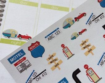 Planner Stickers Travel Set Fits Erin Condren Life Planner Plum Paper