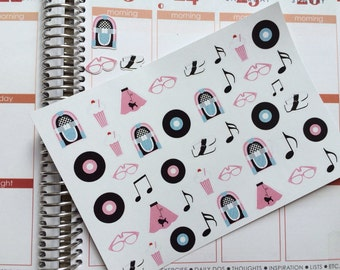 50's Theme Stickers, Perfect For The Erin Condren Life Planner & Other Planners,  Stickers, Party Stickers