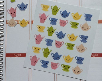 Planner Stickers 30 Kawaii Teapot Stickers Fits Erin Condren Planner Plum Paper Stickers