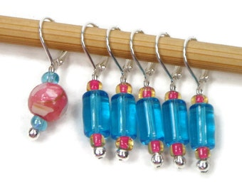 Removable Stitch Markers Crochet Row Markers Aqua Blue Pink Locking Knitting Supplies DIY Crafts