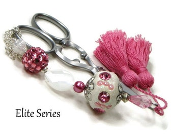 White Pink Scissor Fob Beaded Scissor Keeper Scissor Minder Elite Series Needlepoint Quilting Sewing Cross Stitch