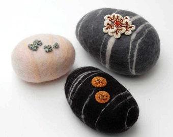 Hand felted stones, felt ornament, felt stone, woodland decor, nature art, elin, nature decor, wet felted pebble,