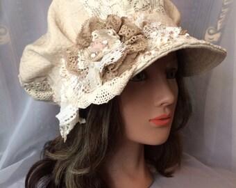 Ooak newsboy cap cream summer cap cotton linen tatiana123