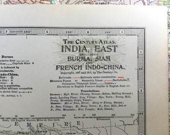 1911 Antique Map of India, Eastern Part - Burma - Myanmar - Siam - Thailand - French Indo-China - Century Atlas Map