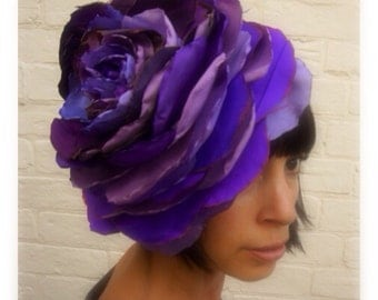 Giant recycled purple recycled vintage antique silk and leather giant rose flower headpiece