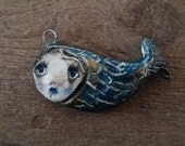one of a kind paper clay mermaid - fish pendant