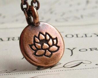 Copper Lotus Flower necklace, Zen meditation, simple pendant, miniature, peace, spiritual calm, charm necklace, yoga jewelry, water lily