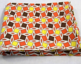 Vintage Tablecloth, Small Tablecloth, Orange and Yellow Tablecloth, Unique Tablecloth, Summertime Linens, Picnic Tablecloth