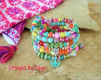 Gypsy Bohemian Ethnic Beaded bracelet, Layered Bracelet, Peace and Love, Hippie, Boho Style Me, Kaye Kraus