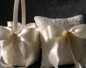 Wedding Ring Pillow and Flower Girl Mini Basket Set - Ivory Lace with Satin Bows - Elizabeth