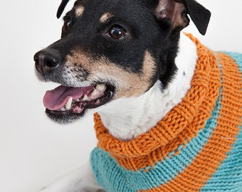 Light blue and orange large cotton dog sweater // Chandail large pour chien tricoté à la main 100% cotton orange et bleu