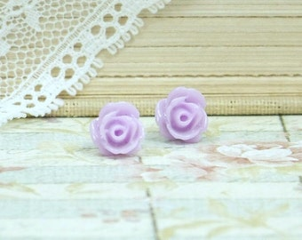 Purple Rose Stud Earrings Tiny Rose Earrings Purple Rose Studs Purple Flower Studs Hypoallergenic Tiny Studs