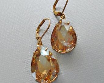 Golden Crystal Earrings - Vintage Wedding - Champagne Crystal - CAMBRIDGE Golden Champagne