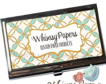 Mint Gold Business Card Holder, Personalized free
