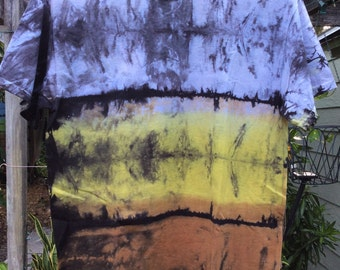 Mens medium premium gold, brown Shibori Landscape tie Dye