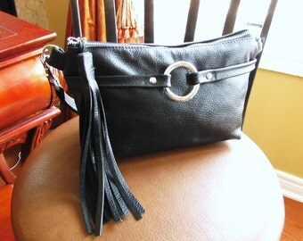Black Leather Fanny Pack with tassel, waist pouch, 3 way leather bag, Small black bag, hip bag, black fanny bag