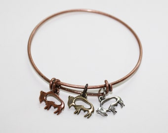 Buffalo Herd, Buffalo Bangle, Buffalo Charms. Buffalo Charm Bracelet, Copper Bracelet