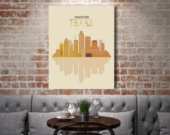 Texas, Houson canvas art, Houston Texas Skyline, City Print, gift for husband, City skyline, Engagement Gift favorite hone state