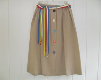 Vintage 80s Colourful Button Front Beige Skirt with matching belt, Size XL / Large