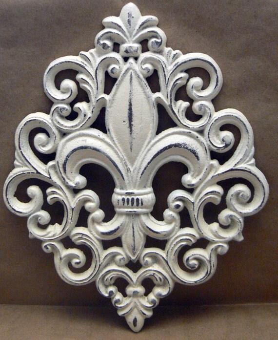 Fleur De Lis Ornate Decorative Cast Iron Painted Off White