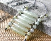 Tribal New Jade and Aquamarine Pendant Necklace,  Extra Long Sterling Silver Gemstone and Chain Necklace