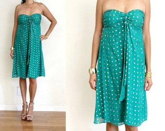 Upcycled Teal & Gold Lurex Smocked Strapless Glam Mini Resort Dress S/M