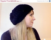 Black Knit Slouchy Beret - Kylie