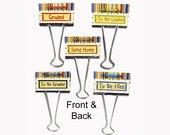 "Teacher Gift Organizer Personalized Binder Clips 2"" wide Retro"