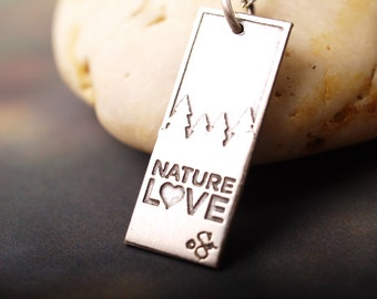 Nature Love etched sterling pendant with chain