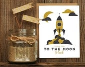 Moon and Back Letterpress Greeting Card - I Love You Rockets Space Hand Lettering