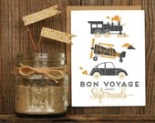 Bon Voyage Letterpress Greeting Card - travels planes trains automobiles Hand Lettering