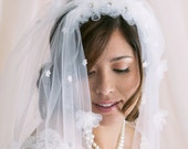 Cathedral Veil, Tulle Veil, Veil With Flowers, Bridal Accessories, Wedding Veil