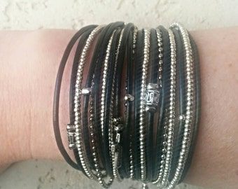 Personalized Wrap Bracelet - Multistrand Leather Cuff - Boho Festival Style - Best Boho - Best Seller - Choose Four Charms - Customizable