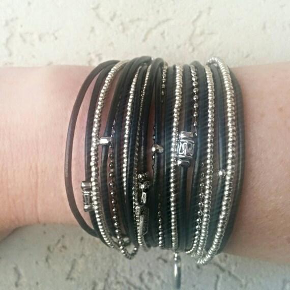 Leather Wrap Bracelet// Silver Beaded Bracelet// Boho Festival Style// Best Boho// Rustic Wrap Bracelet// Best Seller// Choose Four Charms