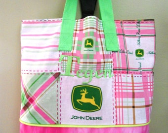 John Deere for Girls Lunch Bag / Book Bag / Overnight Bag / Travel Bag /  Party Gift Bag / Storage /  Embroidered with Childs Name