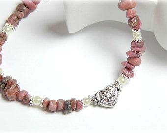 Anklet, Ankle Bracelet, Pink Gemstone Anklet, Heart Anklet, Pink Rhodonite Anklet, Sterling Silver Adjustable Anklet for Women