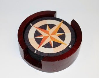 Nautical Compass Coaster Set of 5 with Wood Holder