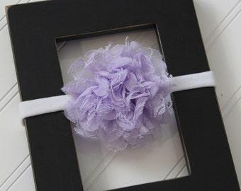 Light Purple Chiffon Lace Headband- Newborn Baby Child- Photo Prop - Boutique Bow Headband