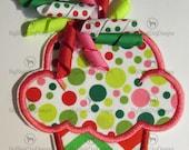 Christmas Korker Bow Cupcake - Iron On Applique