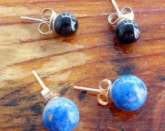 Two Pairs Post Stud Earrings for Her Black Onyx and Lapis Lazuli
