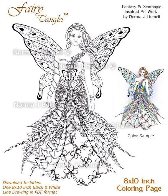 Fay Goddess Fairy Tangles Printable Coloring Sheets Adult