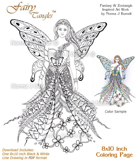 fay goddess fairy tangles printable coloring sheets adult digi coloring book pages 8x10 beautiful fairies coloring pages for adults kids - Adult Fairy Coloring Pages