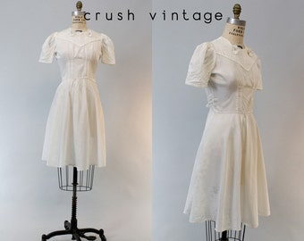 30s Dress Small / 1930s Vintage Dres Taffeta Puffed Sleeves Dress / White Horses Dress